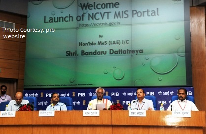 The Minister of State for Labour and Employment (Independent Charge), Shri Bandaru Dattatreya addressing at the launch of the Digital India Initiative: NCVT-MIS Portal, in New Delhi on April 06, 2015. The Secretary, Ministry of Labour and Employment, Shri Shankar Aggarwal and other dignitaries are also seen.