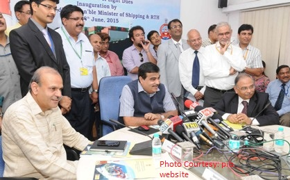The Union Minister for Road Transport & Highways and Shipping, Shri Nitin Gadkari addressing after inaugurating the On-line collection of Light dues system of Director General of Lighthouses & Lightships, in New Delhi on June 08, 2015. 	The Secretary, Ministry of Shipping, Shri Rajive Kumar is also seen.