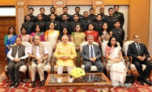 The Prime Minister, Shri Narendra Modi with the Officer Trainees of the 2013 batch of Indian Foreign Service, in New Delhi on June 04, 2015. 	The Principal Secretary to the Prime Minister, Shri Nripendra Misra, the Additional Principal Secretary to the Prime Minister, Shri P.K. Mishra and the Foreign Secretary, Shri S. Jaishankar are also seen.