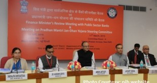 The Union Minister for Finance, Corporate Affairs and Information & Broadcasting, Shri Arun Jaitley holding a Quarterly Performance Review Meeting with the Chief Executive Officers (CEOs) of Public Sector Banks and Financial Institutions, in New Delhi on March 11, 2015. 	The Minister of State for Finance, Shri Jayant Sinha is also seen.