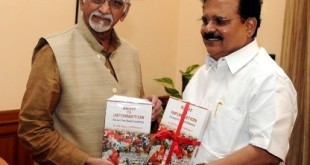 """The Vice President, Shri Mohd. Hamid Ansari being presented a book titled """"Right to Information-An Act for Best Citizentry"""" by the MP (Rajya Sabha) and Chairman, Standing Committee on Personnel, Public Grievances, Law & Justice, Dr. E.M. Sudarsana Natchiappan, in New Delhi on October 17, 2014."""