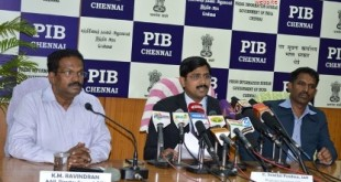 The Regional Passport Officer, Chennai, Shri. Senthil Pandian briefing the Media on the achievements of RPO during the year 2014, in Chennai on December 31, 2014. 	The Addl. Director General, PIB, Chennai Shri K.M. Ravindran is also seen.