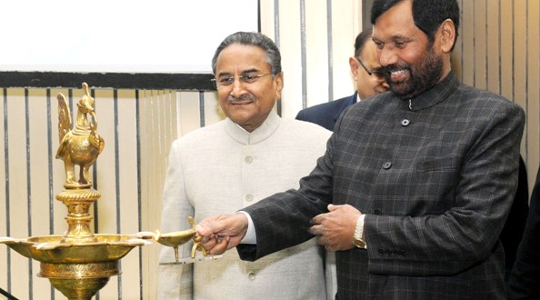 "The Union Minister for Consumer Affairs, Food and Public Distribution, Shri Ram Vilas Paswan lighting the lamp at the National Consumer Day celebrations with the theme ""Safe & Healthy Food: Combating Food Adulteration"", in New Delhi on December 22, 2015. The President, NCDRC, Justice Shri D.K Jain is also seen."
