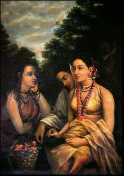 Shakuntala with friends writing a letter to Dushyanta [Raja Ravi Varma [Public domain], via Wikimedia Commons]