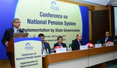 The Chairman, PFRDA, Shri Hemant Contractor speaking at the conference on implementation of National Pension System by the State Governments, organised by the PFRDA, in New Delhi on December 10, 2015. The Special Secretary (Expenditure), Ministry of Finance, Shri Ajay Narayan Jha is also seen.