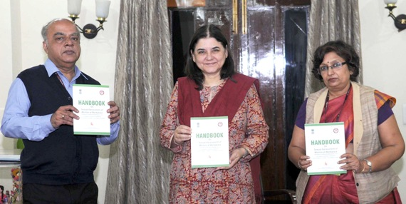 The Union Minister for Women and Child Development, Smt. Maneka Sanjay Gandhi releasing the Handbook on Sexual Harassment of Women at Workplace (Prevention, Prohibition and Redressal) Act, 2013, in New Delhi on December 07, 2015. The Secretary, Ministry of Women and Child Development, Shri V. Somasundaran and the Additional Secretary, Ministry of Women and Child Development, Ms. Nutan Guha Biswas are also seen.