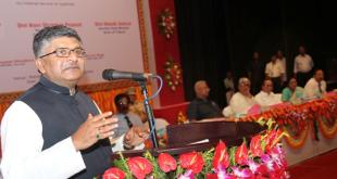 The Union Minister for Communications & Information Technology, Shri Ravi Shankar Prasad addressing after unveiling the foundation stone for International Gateway (internet connectivity), at Rabindra Shatabarshiki Bhavan, in Agartala on July 11, 2015. The Governor of Tripura, Shri Tathagata Roy and the Chief Minister of Tripura, Shri Manik Sarkar also seen.