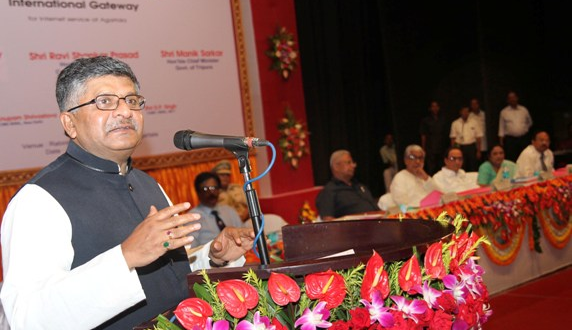 The Union Minister for Communications & Information Technology, Shri Ravi Shankar Prasad addressing after unveiling the foundation stone for International Gateway (internet connectivity), at Rabindra Shatabarshiki Bhavan, in Agartala on July 11, 2015. The Governor of Tripura, Shri Tathagata Roy and the Chief Minister of Tripura, Shri Manik Sarkar also seen.