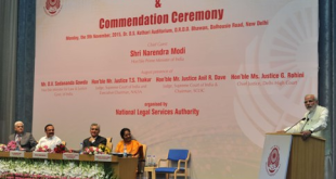 The Prime Minister, Shri Narendra Modi addressing the gathering at the observance of Legal Services Day and Commendation Ceremony, in New Delhi on November 09, 2015. The Union Minister for Law & Justice, Shri D.V. Sadananda Gowda, the Judge of Supreme Court of India and Executive Chairman NALSA, T.S. Thakur and other dignitaries are also seen.