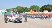 The Minister of State for Home Affairs, Shri Haribhai Parthibhai Chaudhary receiving the Guard of Honour, at the 23rd Rapid Action Force day, at 99BN RAF campus, Hakimpet, in Hyderabad on October 07, 2015. The DG-CRPF, Shri Prakash Mishra is also seen.