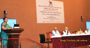 The Union Minister for Human Resource Development, Smt. Smriti Irani addressing the gathering at the celebrations of 10 years of excellence in Science Education and Research of the Indian Institute of Science Education and Research (IISER), in Pune on February 19, 2016. Dr. Raghunath Mashelkar, the Director IISER, Pune, Shri K.N. Ganesh and other dignitaries are also seen.