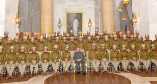The President, Shri Pranab Mukherjee with the Officer Trainees of 67 RR (2014 Batch) of Indian Police Service from Sardar Vallabhbhai Patel National Police Academy, Hyderabad, at Rashtrapati Bhavan, in New Delhi on November 20, 2015.