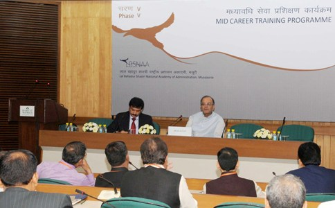 """The Union Minister for Finance, Corporate Affairs and Information & Broadcasting, Shri Arun Jaitley addressing the participants of the """"India's Macro-Economic Outlook"""", as a Part of Phase V of Mid-Career Training Programme for IAS Officers, in New Delhi on October 15, 2015."""