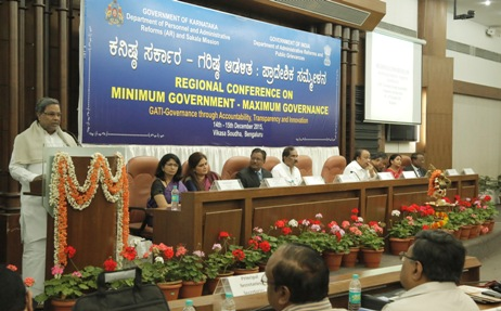 "The Chief Minister of Karnataka, Shri K. Siddaramaiah addressing the gathering after inaugurating the two-day Regional Conference on ""Minimum Government-Maximum Governance"" as part of GATI (Governance with Accountability, Transparency and Innovation), in Bengaluru on December 14, 2015. The Secretary, Department of Administrative Reforms & Public Grievances, Government of India, Shri Devendra Chaudhry is also seen."