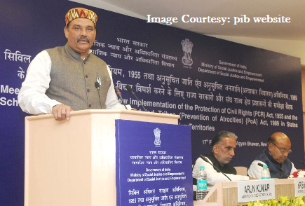 The Minister of State for Social Justice & Empowerment, Shri Vijay Sampla addressing at a meeting of the Committee to review implementation status of the Protection of Civil Rights (PCR) Act, 1955 and the Scheduled Castes and the Scheduled Tribes (Prevention of Atrocities) Act, in New Delhi on February 17, 2016. The Union Minister for Social Justice and Empowerment, Shri Thaawar Chand Gehlot and the Minister of State for Social Justice & Empowerment, Shri Krishan Pal are also seen.