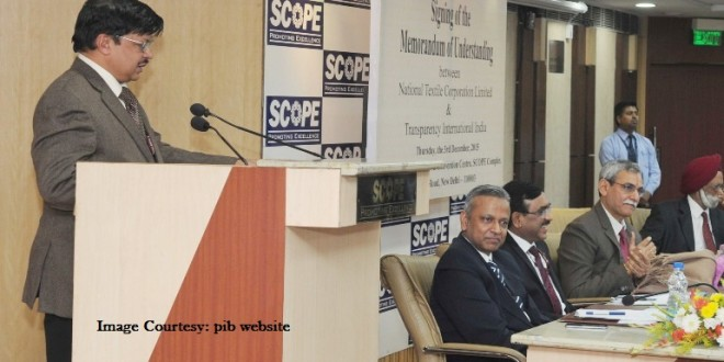 The Secretary, Ministry of Textiles, Dr. S.K. Panda addressing at the signing ceremony of Memorandum of Understanding between National Textile Corporation Limited (NTC Ltd.) and Transparency International India (TII), in New Delhi on December 03, 2015. The Central Vigilance Commissioner, Shri K.V. Chowdary and other dignitaries are also seen.