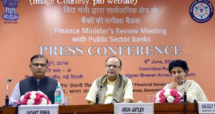 The Union Minister for Finance, Corporate Affairs and Information & Broadcasting, Shri Arun Jaitley addressing a press conference, after holding the Quarterly Performance Review Meeting of the Chairman and Managing Directors/CEOs of Public Sector Banks (PSBs) and Financial Institutions, in New Delhi on June 06, 2016. The Minister of State for Finance, Shri Jayant Sinha and the Secretary, Department of Financial Services, Smt. Anjuly Chib Duggal are also seen.