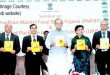 "The Union Minister for Finance, Corporate Affairs and Information & Broadcasting, Shri Arun Jaitley releasing a brochure at the seminar on ""Pradhan Mantri Fasal Bima Yojana (PMFBY) and Unified Package Insurance Scheme (UPIS)"", in Mumbai on March 22, 2016. The Secretary, Department of Financial Services, Smt. Anjuly Chib Duggal and other dignitaries are also seen."