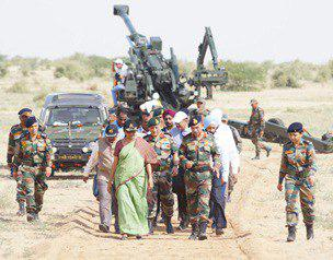 The Union Minister for Defence, Smt. Nirmala Sitharaman, the Chief of Army Staff, General Bipin Rawat and other senior Defence & Army officers coming out after witnessing firing of ATAGS and MBT Arjun, at Pokhran Field Firing Range, Rajasthan on September 23, 2017. (Image Courtesy: PIB website)