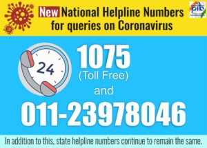 New National Helpline Numbers for Queries on Coronavirus