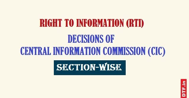 CIC Decisions - Section-Wise