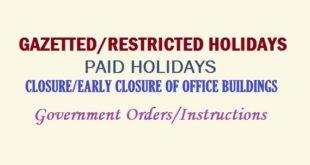 Govt. Holidays