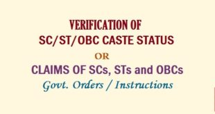 Verification of SC/ST/PBC Caste Status