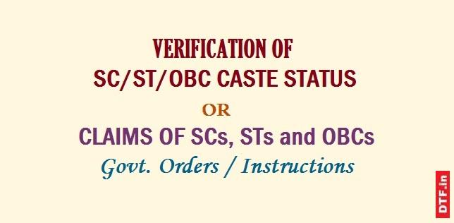 Verification of SC/ST/PBC Caste Status