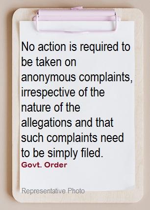 Anonymous Complaint