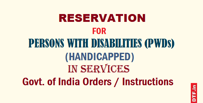 Reservation for PwDs
